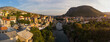 Panoramic view of the city of Mostar at sunset. Bosnia and Herzegovina
