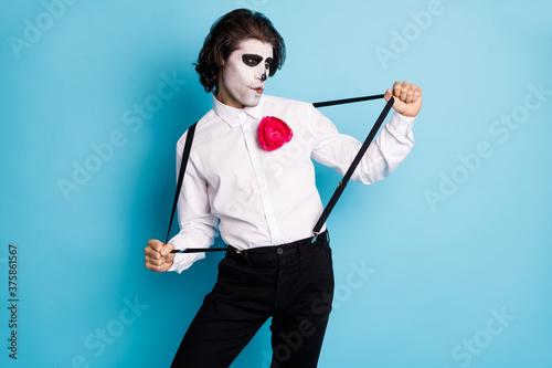 Fotografie, Obraz Portrait of his he handsome cool creepy diabolic elegant gentleman guy having fu