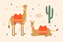 Cute Cartoon Camels On Light Background. Cheerful Animals Of Desert Among Cacti. Template For Use In Design, Textiles, Books, Packaging. Funny Vector Illustration In The Style Of Children`s Drawing.