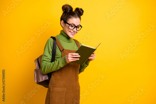 Fotomural Portrait of her she nice attractive cheerful focused intelligent funky girl nerd