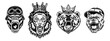 Animal angry characters set. Gorilla in biker helmet, lion and bear in riyal monarch crown, bulldog in gangster cap with open jaws. Vintage monochrome vector illustrations isolated on white background