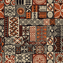 Hawaiian Style Tapa Tribal Fabric Abstract Patchwork Vintage Vector Seamless Pattern
