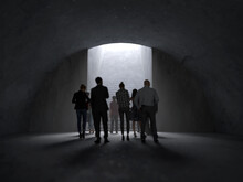 People Coming Out Of The Dark Tunnel