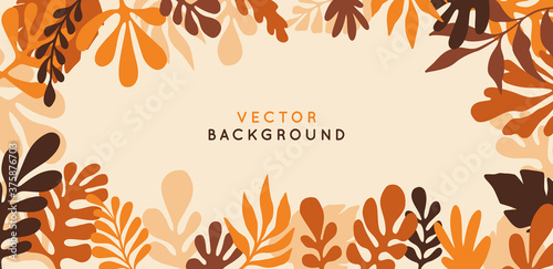 Fototapeta Vector  horizontal abstract background with copy space for text - autumn sale - bright vibrant banner, poster, cover design template, with yellow and orange leaves obraz