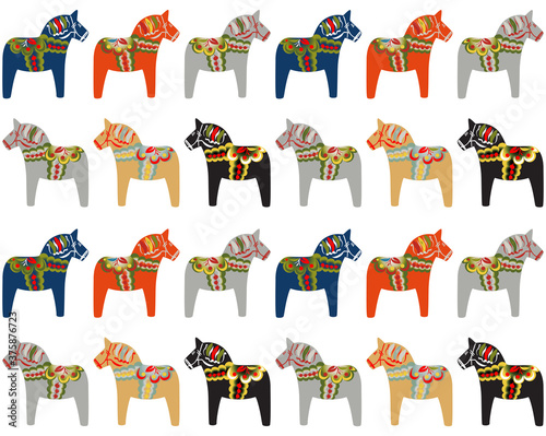 Dala horse Swedish folk art pattern background. фототапет
