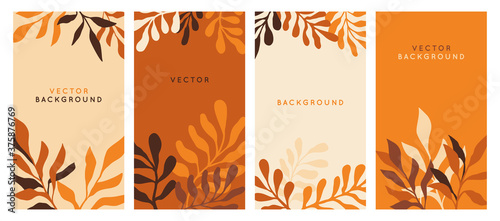 Obraz Vector  horizontal abstract background with copy space for text - autumn sale - bright vibrant banner, poster, cover design template, with yellow and orange leaves - fototapety do salonu