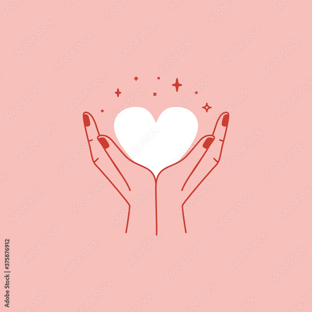 Fototapeta Vector abstract logo design template in simple linear style - hands gesture, love and friendship concepts - tattoo and sticker design element. Valentine's day greeting card in minimal style