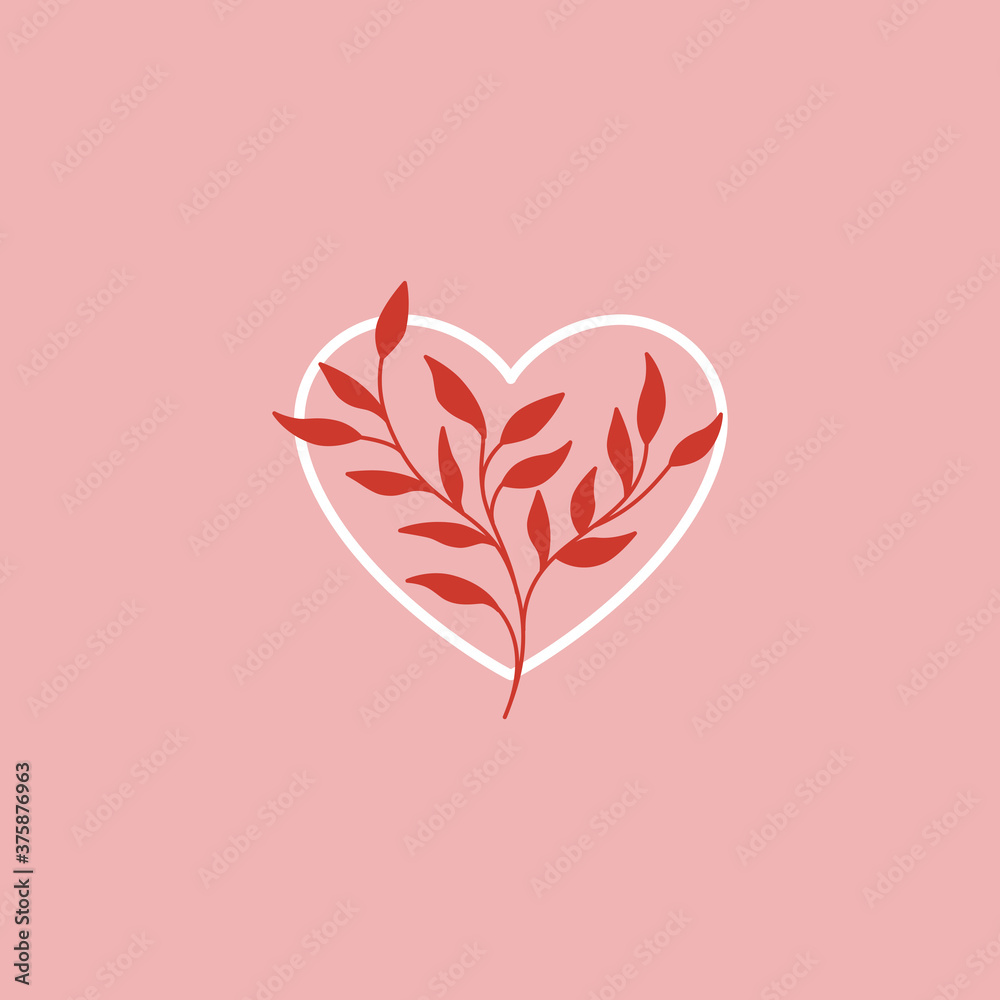 Fototapeta Vector abstract logo design template in simple linear style - love and friendship concept - tattoo and sticker design element. Valentine's day greeting card in minimal style