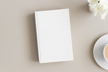 White Book Mockup With A Cup O...
