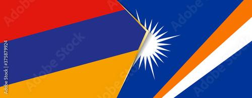 Obraz na plátně Armenia and Marshall Islands flags, two vector flags.