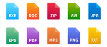 File Types Icon Set. Colorful ...