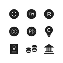Copyright Icon Set Includes Tr...