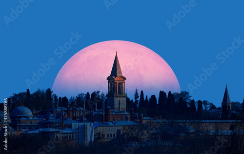 Canvas Topkapi Palace with full moon  - Istanbul Turkey Elements of this image furnish