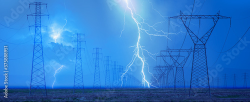 Fotomural High voltage power line with amazing  lightning
