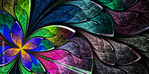 Naklejka kwiaty na szybę  multicolored-beautiful-fractal-flower-in-stained-glass-window-style-you-can-use-it-for-in