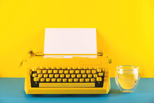 Yellow Bright Typewriter On A ...