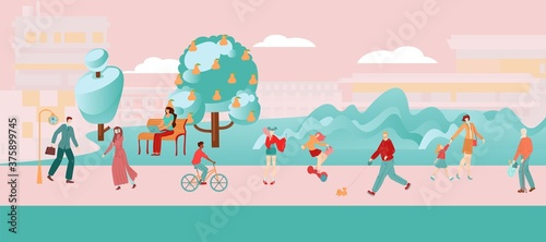 Obraz na płótnie People city flat pink composition, woman and girl go in for sports, city road for cycling and hiking, cartoon vector illustration