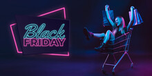 Laughting, Shopping. Portrait Of Young Woman In Neon On Dark Studio Backgound. Human Emotions, Black Friday, Cyber Monday, Purchases, Sales, Finance Concept. Copyspace. Seamless Post For Instagram.