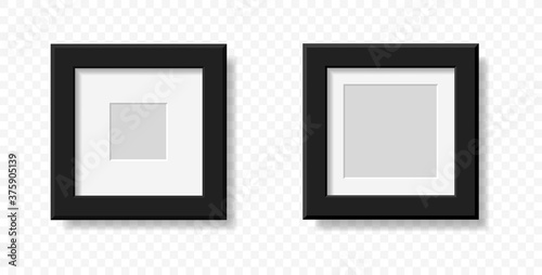Foto Mockup realistic square picture or photo frame black color isolated on transparent background for your design