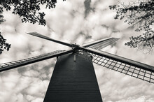 Black And White Low-angle Shot Of The Neuwe Papegaai Windmill Surrounded By Tree Tops Against A Cloudy Sky.