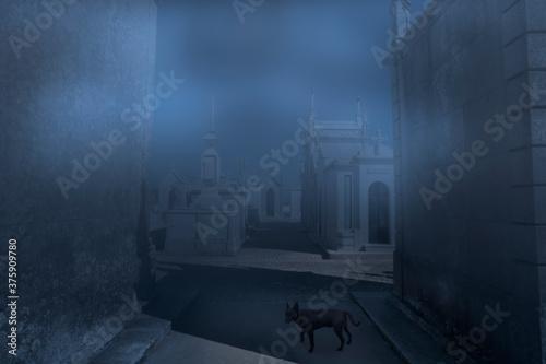 Leinwand Poster Moonlit foggy old european cemetery