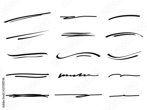Obraz na plátně Hand drawn set of underline, curly swishes, swashes, swoops