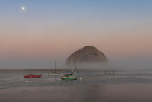 Morro Rock And Boats In Anchorage In The Early Morning, Morro Bay, California