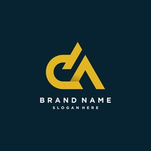Logo With DA Letter And Modern Style Design Concept, Template