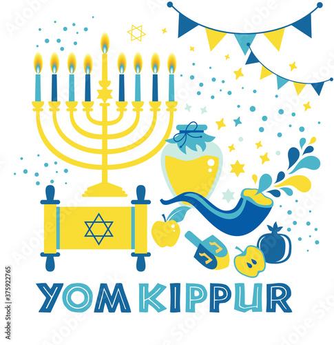 Fotomural Yom Kippur greeting card with candles, apples and shofar and sybols