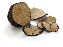 Sliced Fresh Black Truffle Isolated On White Background