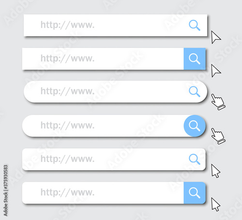 Set of www address search bar icons with shadow Canvas