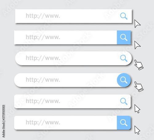 Obraz Set of www address search bar icons with shadow - fototapety do salonu