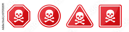 Canvas Print Set of danger hazard sign with skull and crossbones in different shapes in red