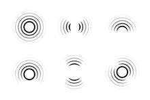 Set Of Signal Icons. Sonar Or Radar Sound Waves. Radio Waves. Internet Connection.