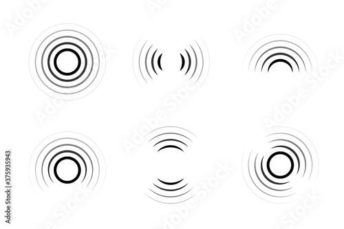 Set of signal icons. Sonar or radar sound waves. Radio waves. Internet connection.