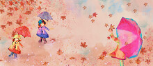 Autumn, Girls With Umbrella. Watercolor Background