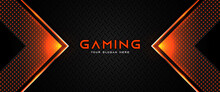 Futuristic Orange And Black Abstract Gaming Banner Design With Metal Technology Concept. Vector Illustration For Business Corporate Promotion, Game Header Social Media, Live Streaming Background