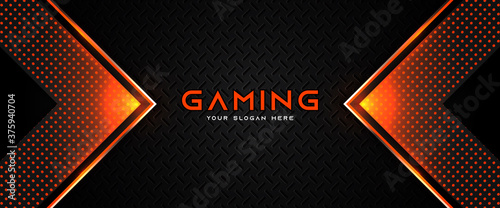 Fotografía Futuristic orange and black abstract gaming banner design with metal technology concept