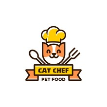 Cat Chef Logo With Chef Hat, Fork And Spoon Icon Illustration In Trendy Simple And Modern Line Linear Cartoon Style