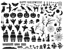 Set Of Halloween Black Icons W...