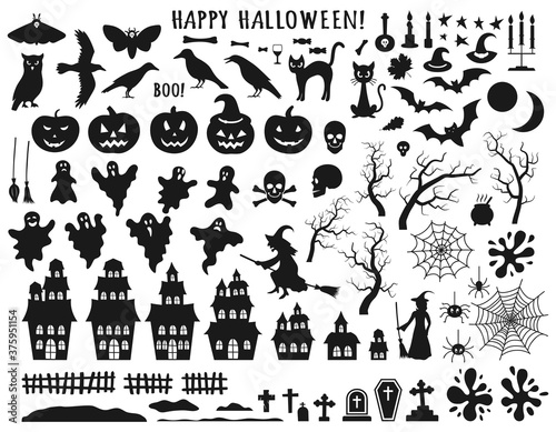 Photographie Set of Halloween black icons with witch, cat, raven, hat, ghosts, bats, candle, pumpkin, spider, cobweb, skull and bones