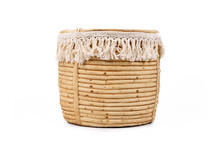 Boho Style Flower Pot With Cotton Tassel Isolated On White Background