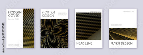 Fototapety, obrazy: Minimal brochure design template set. Gold abstrac
