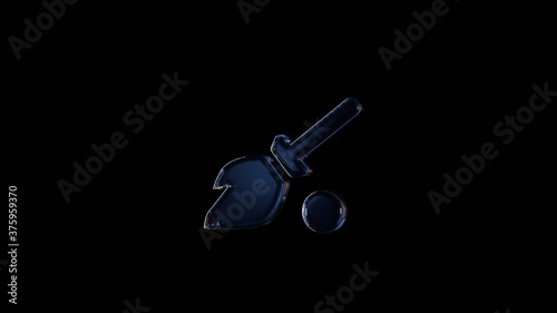 Photo 3d rendering glass symbol of quidditch isolated on black with reflection