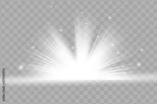 Obraz White glowing light explodes on a transparent background. Sparkling magical dust particles. Bright Star. Transparent shining sun, bright flash. Vector sparkles. To center a bright flash - fototapety do salonu