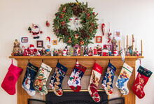 Fireplace Mantel Decorated Wit...