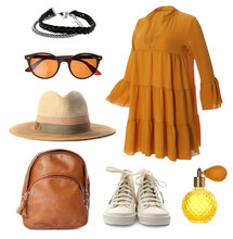 Stylish Outfit. Collage With Dress, Shoes, Accessories And Perfume For Woman On White Background