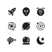 Space Icon Set Including Rocke...