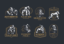 Collection Of Vintage Gorilla Vector Emblems