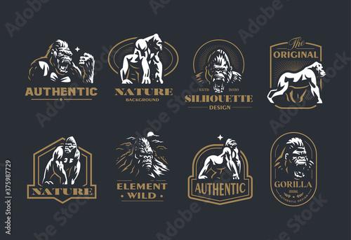 Obraz na płótnie Collection of vintage gorilla vector emblems